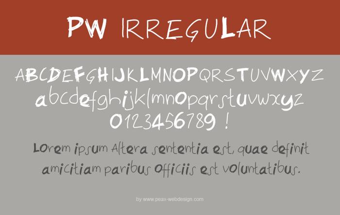 PWIrregular Font poster
