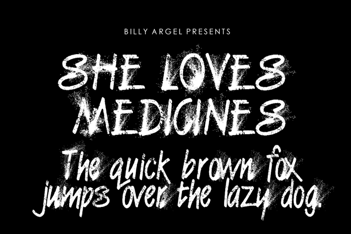 SHE LOVES MEDICINES PERSONAL US Font poster