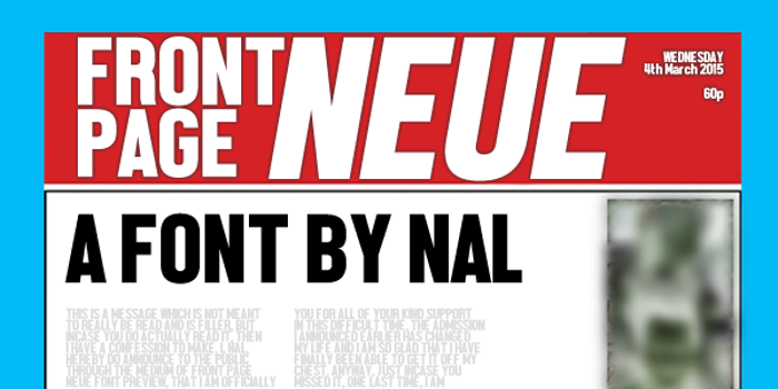 Front Page Neue Font poster