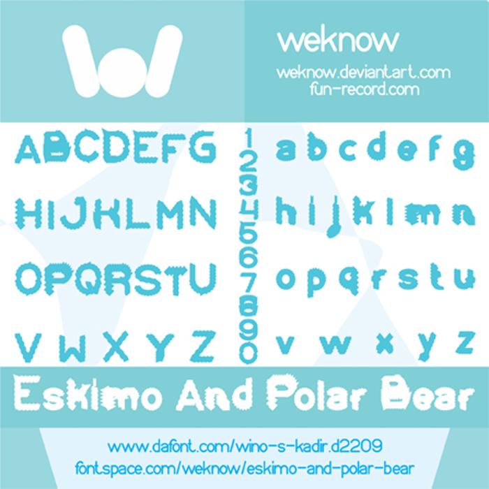 Eskimo and Polar Bear Font poster