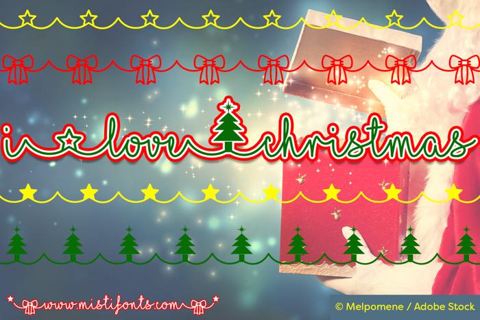 I Love Christmas Font poster