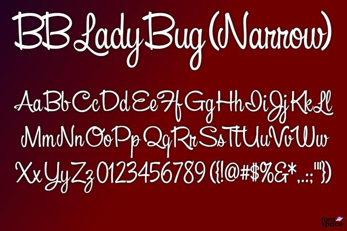 BB Lady Bug (Narrow) Font poster