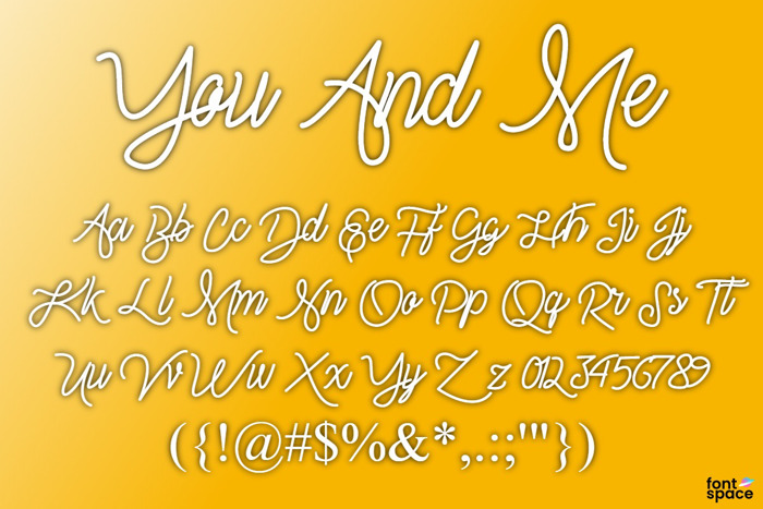 You And Me Font poster