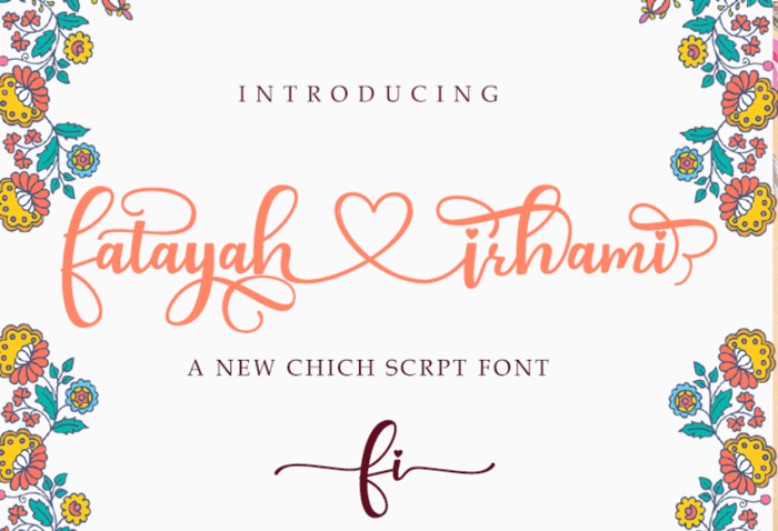 fatayah irhami - A Chic script font poster