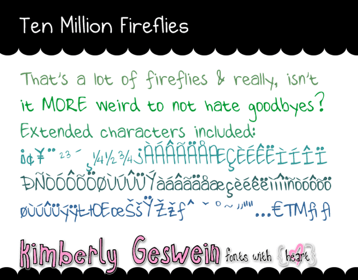 Ten Million Fireflies Font poster