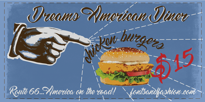 Dream American Diner demo Font poster