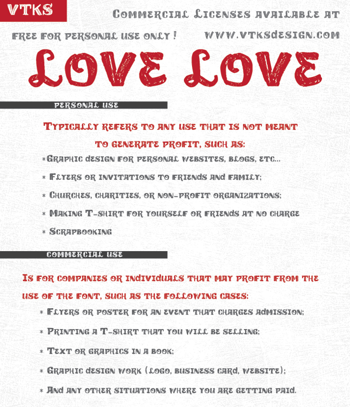 vtks love love Font poster