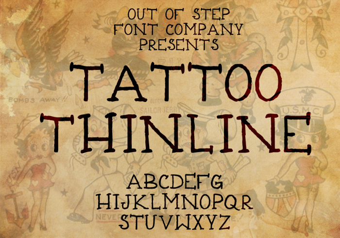 Tattoo Thinline Font poster