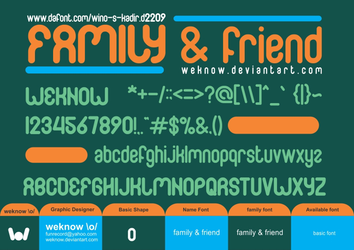 FAMILY & friend Font poster