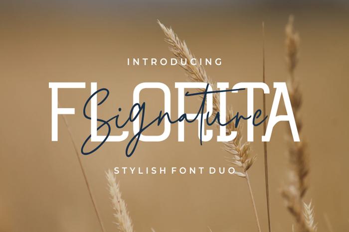 Florita Signature Font poster