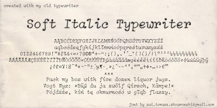 Soft Italic Typewriter Font poster