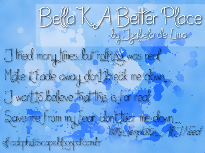 Bella K. A Better Place Font poster