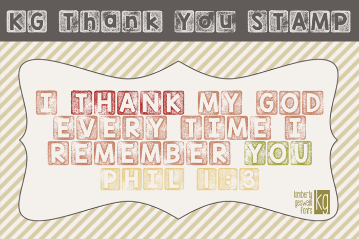 KG Thank You Stamp Font poster
