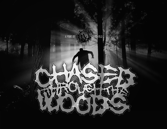 Chased Through The Woods Font poster