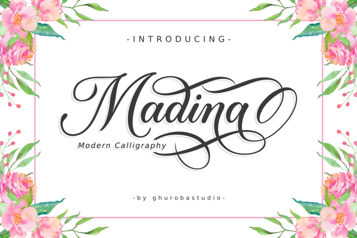 Madina | Modern Calligraphy Font poster