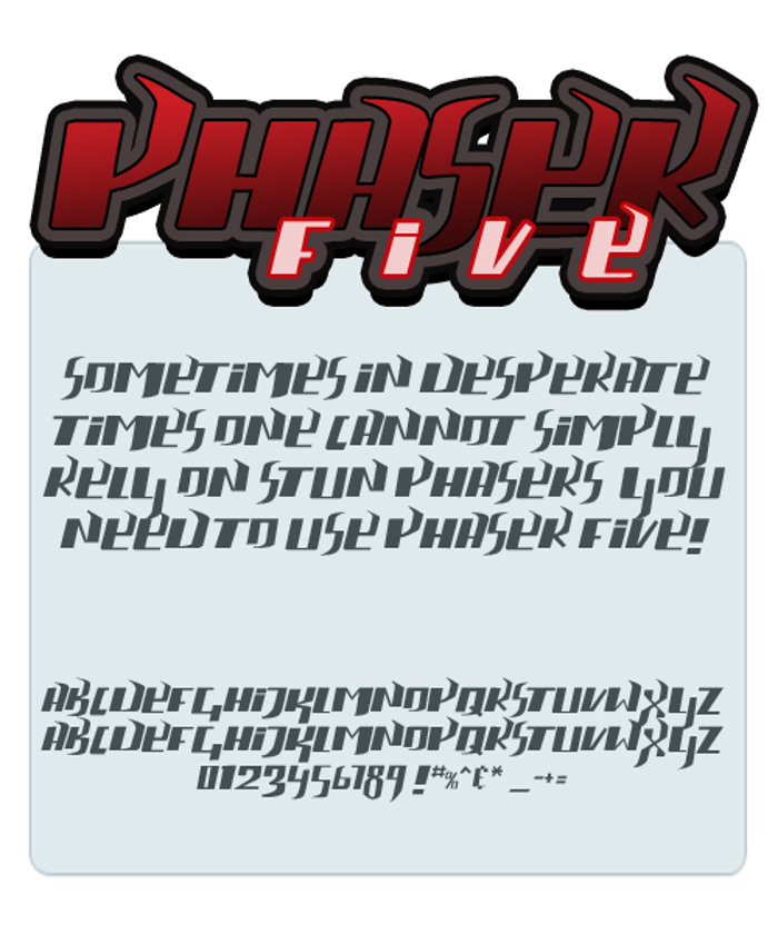 phaser five Font poster