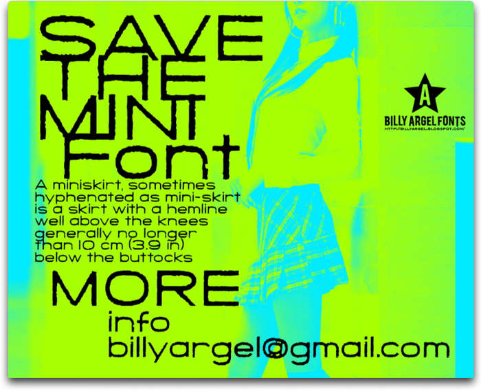 SAVE THE MINI Font poster