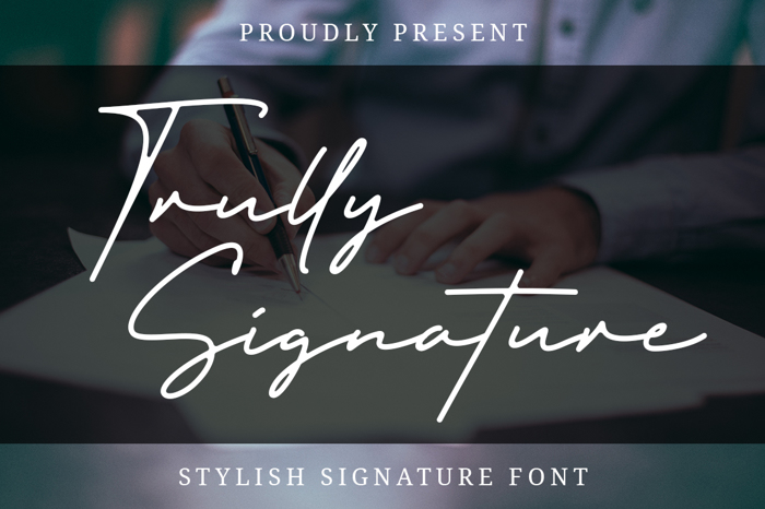 Trully Signature Font poster