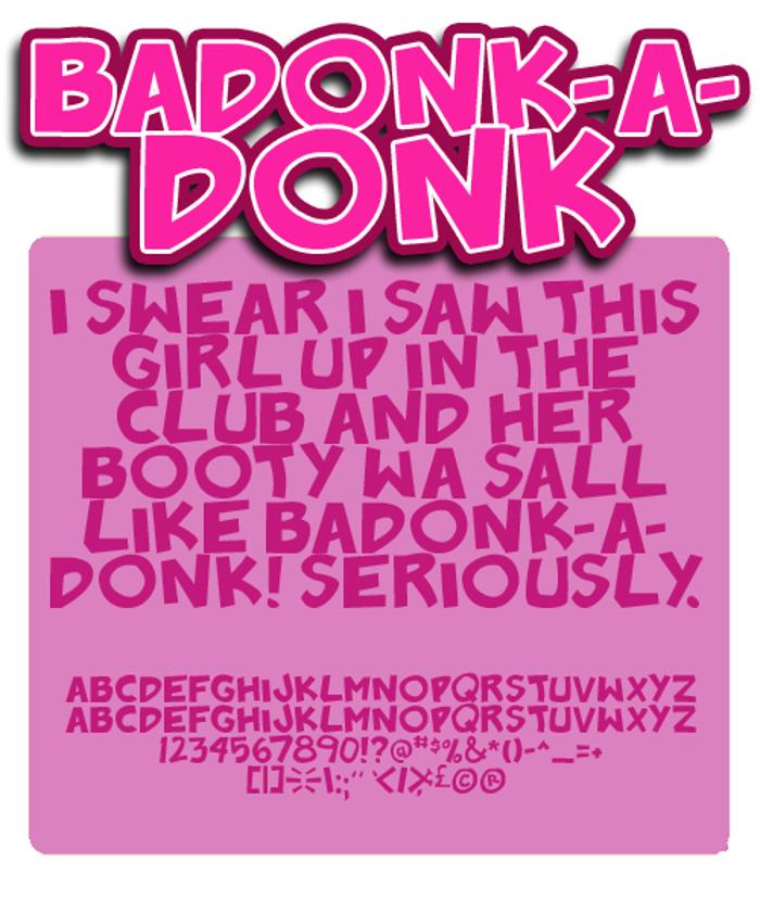 Badonk-a-donk Font poster