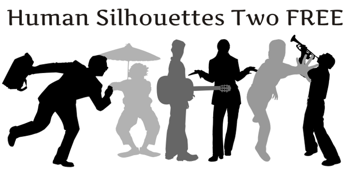 Human Silhouettes Free Two Font poster