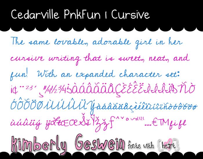 Cedarville Pnkfun1 Cursive Font poster