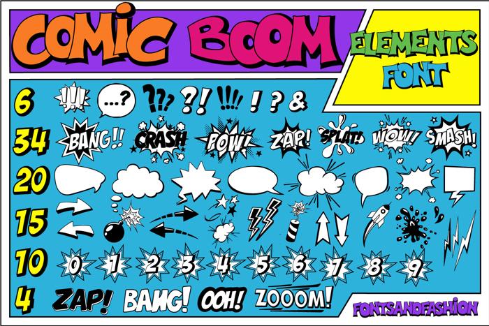 Comic Boom Elements Font poster
