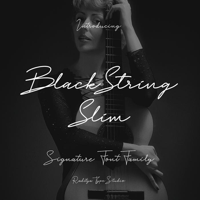 Black String Slim Font poster