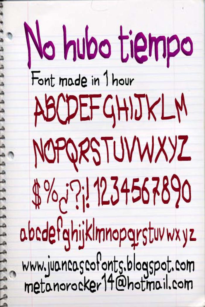 No hubo Tiempo Font poster