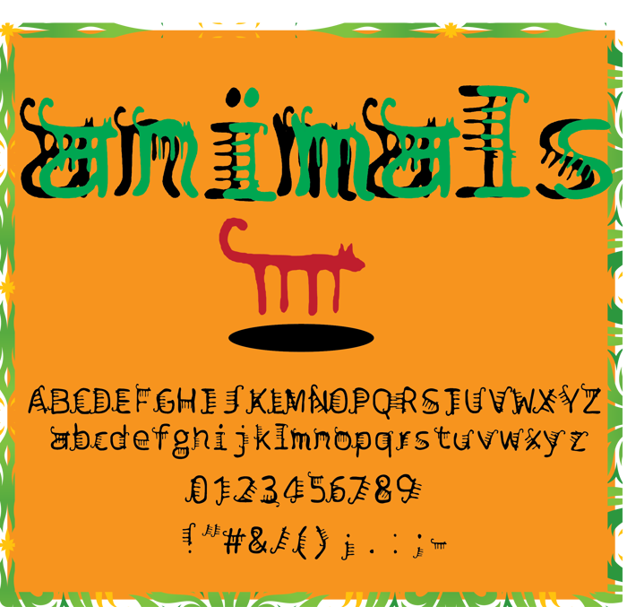 animals Font poster