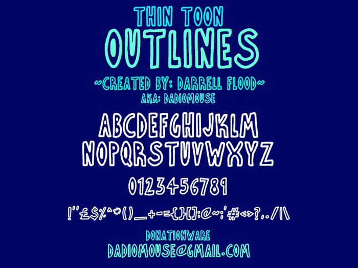 Thin Toon Outlines Font poster
