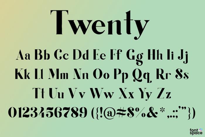 Twenty Font poster