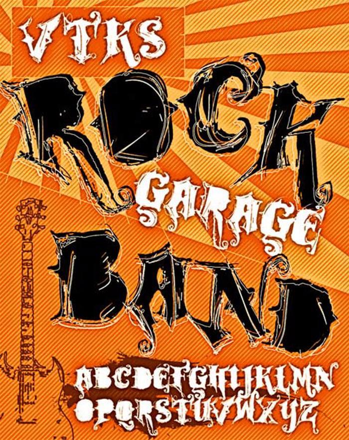 VTKS ROCK GARAGE BAND Font poster