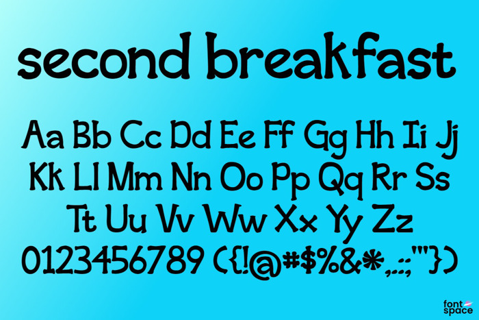 second breakfast Font poster