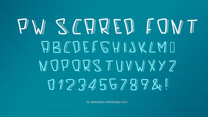 PWScaredFont Font poster