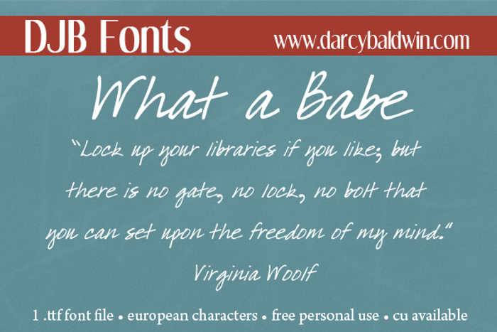DJB What a Babe Font poster