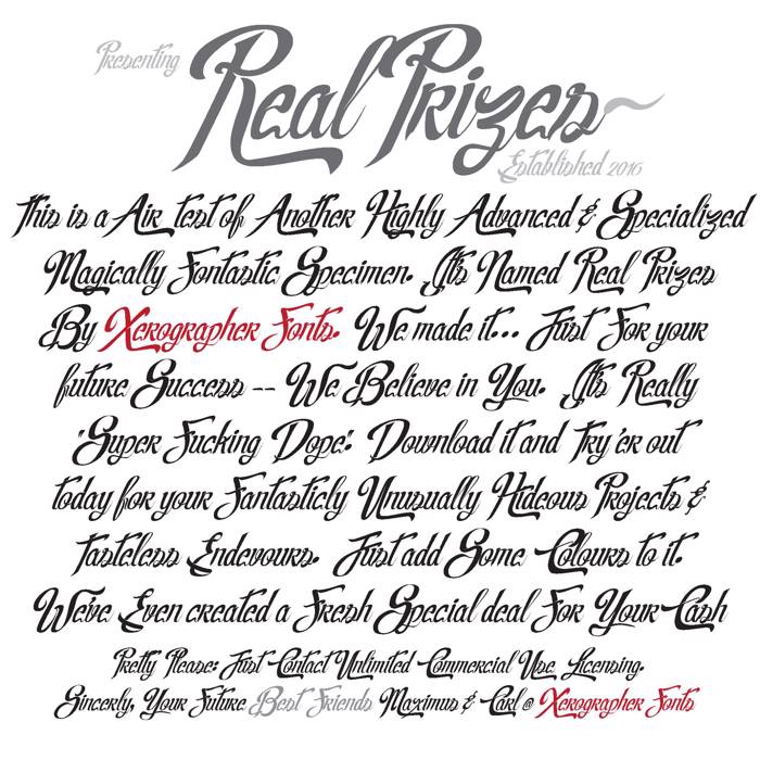 Real Prizes Font poster