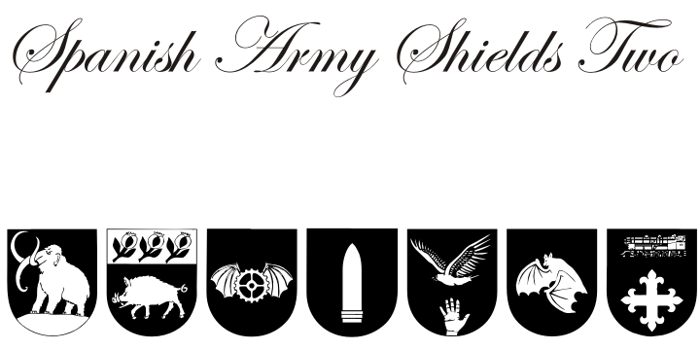 Spanish Army Shields Two Font poster
