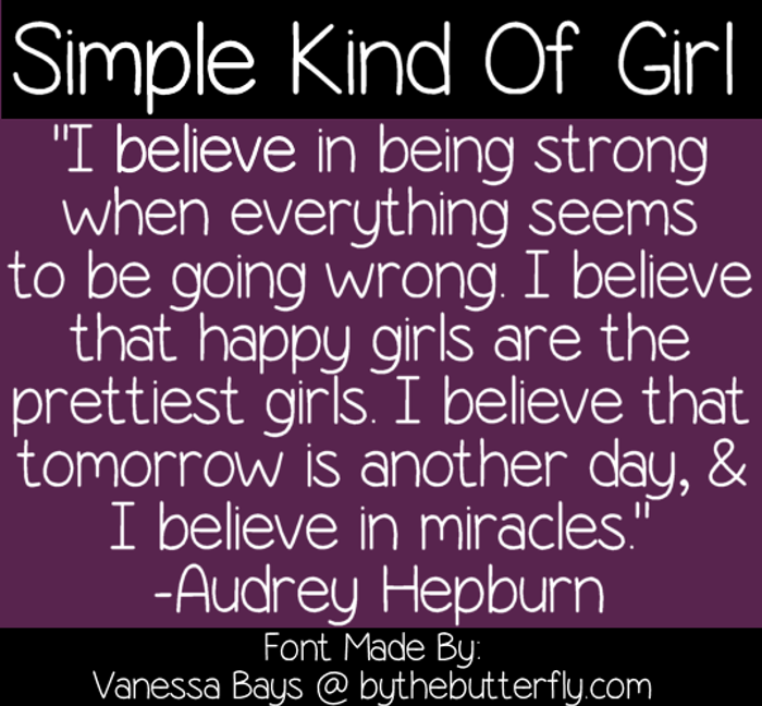 Simple Kind Of Girl Font poster
