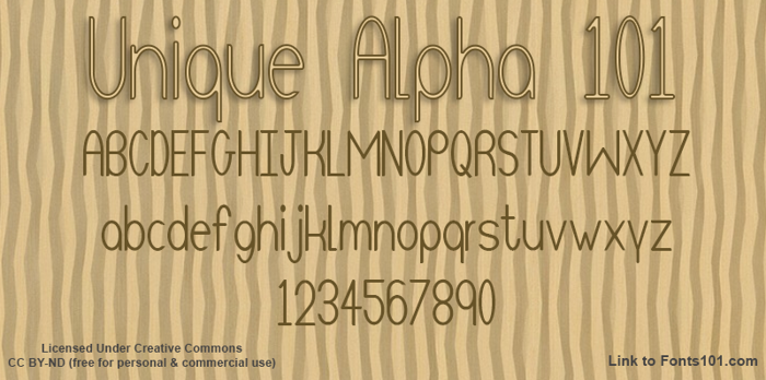Unique Alpha 101 Font poster