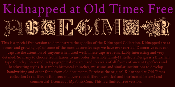 Kidnapped at Old Times Free Font poster