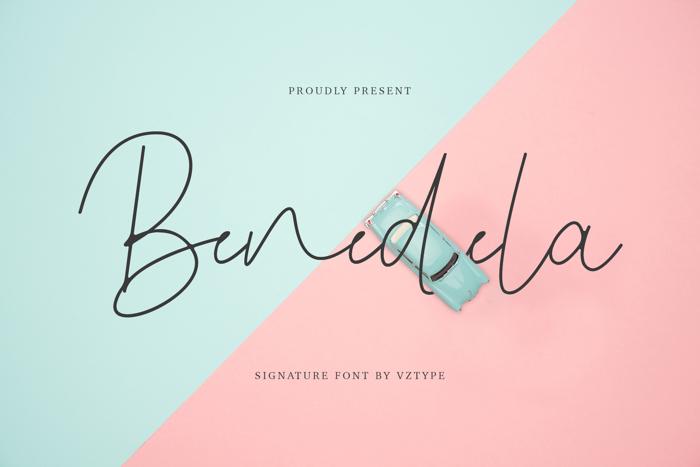 Benedela Signature Font poster
