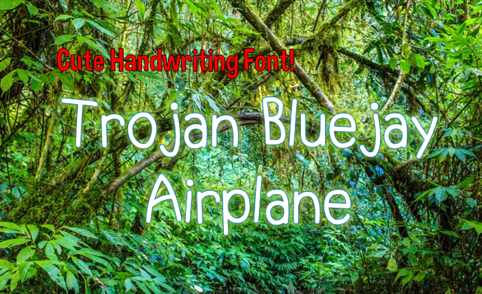 Trojan Bluejay Airplane Font poster