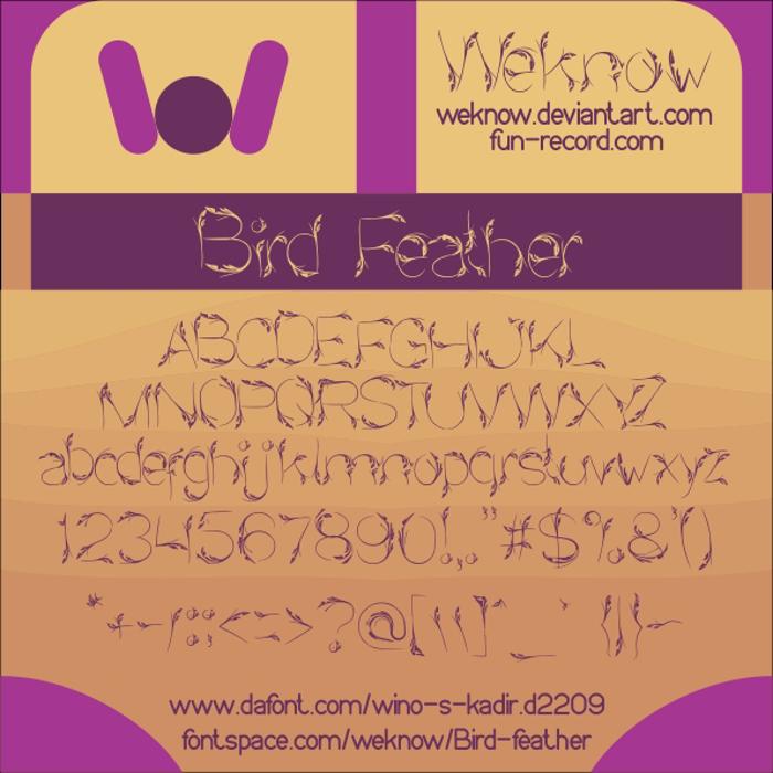 Bird Feather Font poster