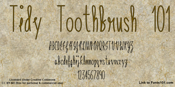 Tidy Toothbrush 101 Font poster