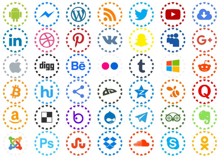 social networks colors Font
