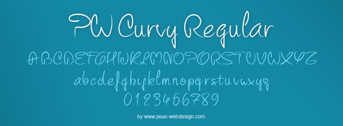 PW Curvy regular script Font poster