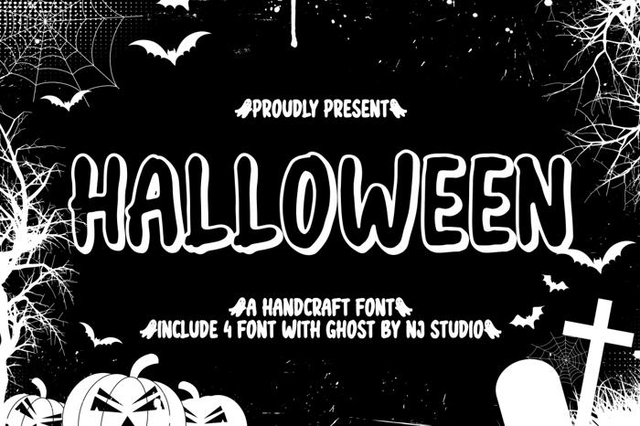 halloween semi black Font poster