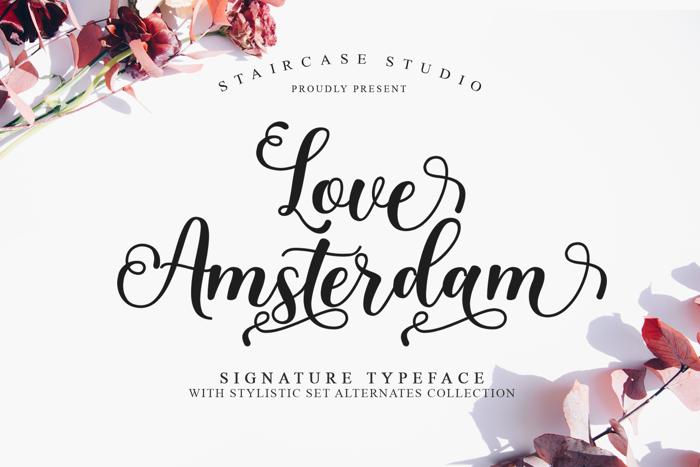 Love Amsterdam Font poster