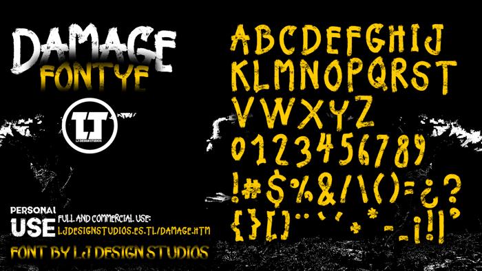 Damage Font poster