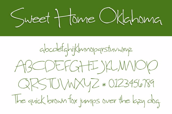 Sweet Home Oklahoma Font poster
